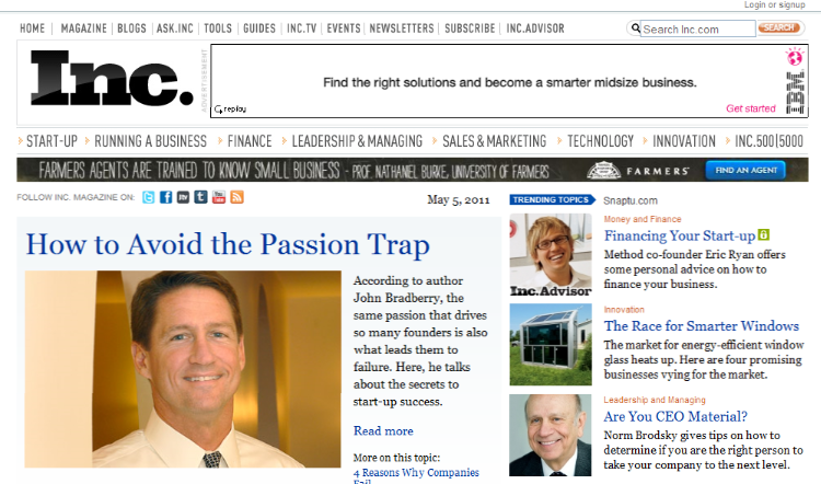 John Bradberry on homepage of INC.com